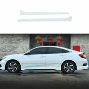 Fit For Honda Civic 2016-20 Exterior Door Panel Trim Side Skirts 2pcs Abs White