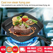 Steak Frying Pan Cast Iron Skillet Pan Kitchen Cookware Outdoor Barbecue