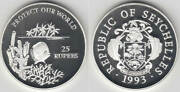 1993 Seychelles Large Proof Silver 25 Rupees Fish/coral/palm