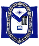 Masonic Blue Lodge Officer Chaplain Apron Silver Chain Collar And Jewel