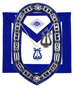 Masonic Blue Lodge Officer Musician Apron Silver Chain Collar And Jewel