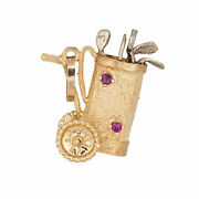 Golf Cart Charm Vintage 14k Yellow Gold Ruby Sapphire Sporting Jewelry Pendant