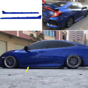 Abs Blue Fit For Honda Civic 10th 2016-2020 Exterior Door Panel Trim Side Skirts