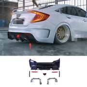Unpainted Rear Bumper Bodykit Refit 2-outlet Pipe Fit For Civic 1.5t Ms 2016-20