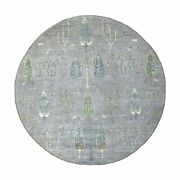 8'2x8'2 Folk Art And Willow Cypress Tree Design Peshawar Hand Knotted Rug R55705