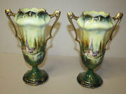 Pair Of Antique Rs Prussia Double Handled Vases With Castle Scenes