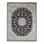 7'8x10' Navy Blue Nain Wool And Silk 250 Kpsi Hand Knotted Oriental Rug R59422