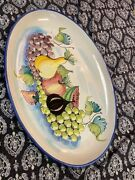 """Vietri Italy Very Large Fruit Decorative Wall/serving Platter 24 1/8"""" X 15.5"""""""
