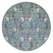 9and0394x9and0394 Willow And Cypress Tree Design Organic Wool Round Hand Knottedrug R55910