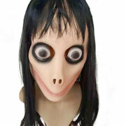 Halloween Party Costume Momo Horror Mask Challenge Latex Horror Mask W/wig Hair