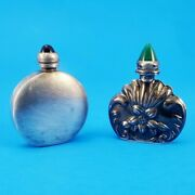 Two Miniature Perfume Flasks Sterling Silver Vintage/antique Floral And Art Deco