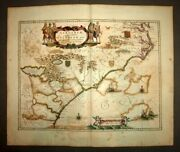Map Geographic Old Original Of Virginie And Florida By Blaeu 1640