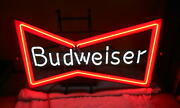 Vintage 1950and039s Budweiser Bow Tie Neon Bar Light With New Neon Bar Collectible