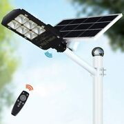 300w Led Solar Street Lights Outdoor Lamp, Dusk To Dawn Pole Light With Remote C