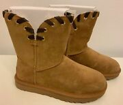 Ugg Aidah Brown Leather Stitch Suede Classic Short Boots Size 7 New