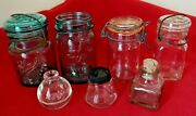 Nice Lot Of 7 Glass Bottles And Jars Ball Ideal-perfect Mason-ink Clear And Green