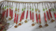 47 Antique Vintage Red Czech Glass Tube Bead Beaded Lampshade Fringe Trim