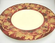 Crate And Barrel Volante 16 Shallow Centerpiece Bowl Burgundy Gold Grape Leaves