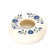 4 Marble Smoking Ashtray Lapis Floral Inlaid Semi Precious Gifts For Men H3658