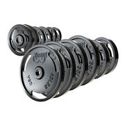 New245 Pound Olympic Plate Set Home Gym Fitness Exercise Cast Iron Weight Plates