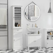 Organizer Restroom Tower Tall Pantry Tower With Multi-tier Shelving White