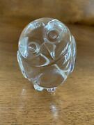 Steuben Crystal Glass Owl/paperweight - Signed - In Original Box