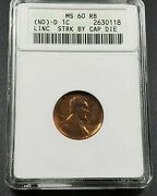 Linc Capped Die Struck Error Nd Bronze Lincoln Memorial Cent Coin Anacs Ms60 Rb