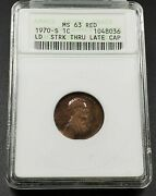 Struck Thru Late Stage Capped Die 1971 S Lincoln Memorial Cent Coin Anacs Ms63
