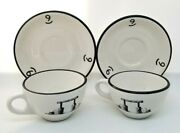 Vtg Two H. F. Coors Coffee Tea Cups Mugs With Saucers Nine Quarter Circle Ranch