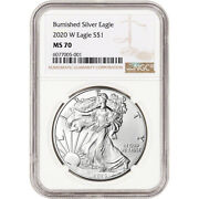 2020 W American Silver Eagle Burnished - Ngc Ms70