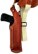 Right Hand Brown Leather Basketweave Vertical Shoulder Holster For Beretta 92a1