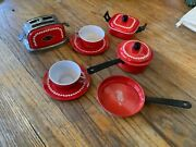 Vintage Special Tin Toy Kitchen Toaster Pots And Pans Lot Cup Saucer Tea Set