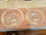 Set 2- Vtg Clear Ribbed/star/footed Federal Depression Glass Nested Mixing Bowls
