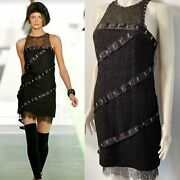 2003 Fall 03a Snap Collection Black Boucle Satin Camellia Lace Dress Us 4