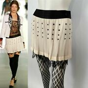 2003 Fall 03a Snap Collection White Black Silk Mini Skirt Fr 38 Us 4
