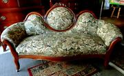 Reupholstered Antique Victorian Sofa Grapes And Leaves Wood Carving Pick Up Only
