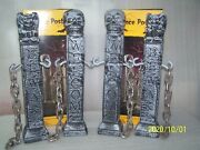 Htf New Lot Of 4 Gothic Halloween Fence Posts With Chains Prop Skull Gargoyle