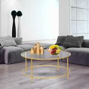 Tempered Glass Coffee Table Round Solid Metal Frame Home Living Room Furniture