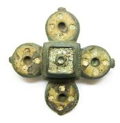 2nd Century Ad Ancient Roman Bronze And Enamel Cruciform Plate Brooch