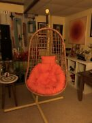 Mcm Vintage Rattan/bamboo Egg Swing Chair And Cushion