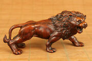 Rare Old Boxwood Hand Carved Anger Lion Statue Netsuke Table Home Decoration