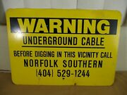 Norfolk Southern Rail Road Warning Underground Cable Metal Safety Sign 14 C