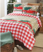 Christmas Trees Holiday Country Vintage Truck Red Plaid 3 Pc King Comforter Set