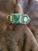 Turquoise Revival Cuff Bracelet By Darryl Bencenti Navajo Silversmith Med/lg