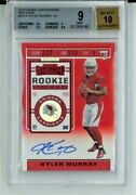 2019 Panini Contenders Kyler Murray Rookie Ticket Auto Red Zone Bgs 9 W/10