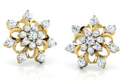 Christmas 1.26ct Natural Round Diamond 14k Solid Yellow Gold Stud Earring