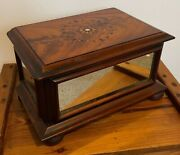 Rare Antique Early 19thc Mirror Side Inlaid Top Womans Vanity Dressing Table Box