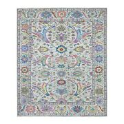 8and039x9and0398 Colorful Peshawar With Oushak Design Handknotted Organic Wool Rug R55612