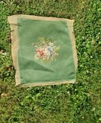 Antique Tapestry Floral Needlepoint Seat Covers Set Of 4 Green Dining Chair