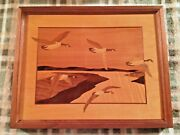 """Marquetry Wood Art By Hudson River Valley Ny Artist Nelson Flying Geese 15,5"""""""